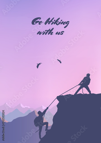 Fototapety, obrazy: Adventure in the mountains. Assist a friend when climbing to the top. Hand of support. Friendship. Silhouette traveling people. Climbing on mountain. Vector illustration hiking and climbing team