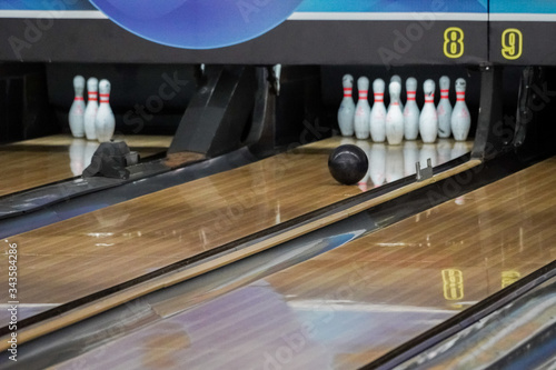 Exiting closeup view of the majestic sport of bowling