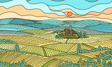 Rural Mountain Landscape. Farm...