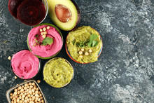 A Variety Of Colored Hummus, B...