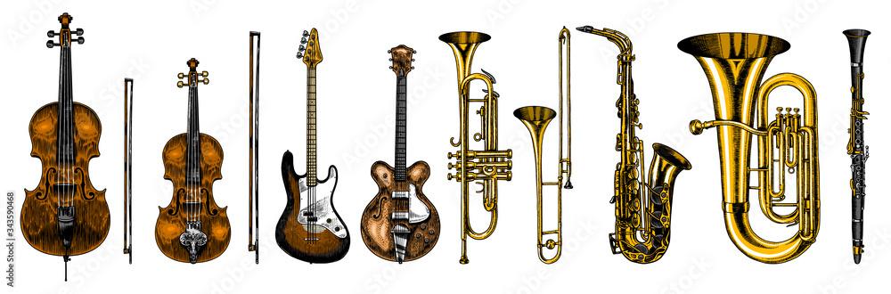 Fototapeta Jazz classical wind instruments set. Musical Trombone Trumpet Flute Bass guitar Semi-acoustic French horn Saxophone Cello Tuba Violin. Hand drawn monochrome engraved vintage sketch.