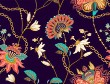 Colored Seamless Pattern With Decorative Flowers And Leaves. Tropical Dark Background. Design For Fabric, Carpet, Web, Textile, Wrapping Paper.