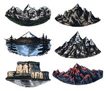 Set Of Mountains Peaks, Vintag...