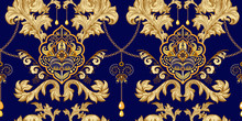 Golden Damask Seamless Pattern. Vintage Indian Wallpaper. Arabian Vector Backdrop. Golden And Blue Vintage Background. Design For Wallpaper, Textile, Fabric, Cover, Rug, Carpet, Web