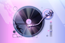 Record Player Vector. Vaporwave Aesthetic