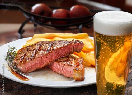 Fototapeta Steak with fries obraz