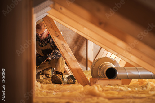 Obraz Air Ventilation Installer Working in Attic - fototapety do salonu