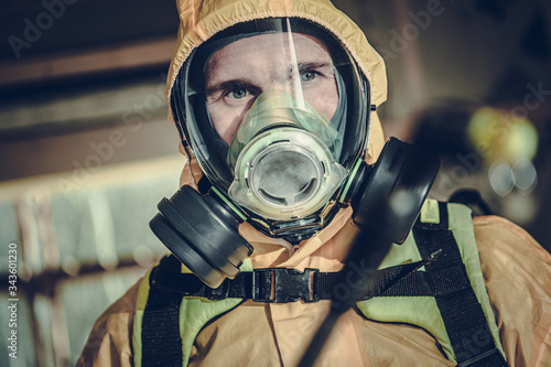 Disinfection and Sanitizing Worker Fighting Virus Pandemia Canvas Print