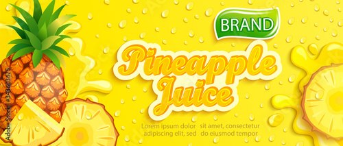 Fresh pineapple juice banner with apteitic drops from condensation, fruit slice on cold background for brand,logo, template,label,emblem,store,packaging,advertising.Vector illustration