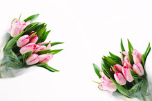 Two Bouquets Of Pink Tulips On...