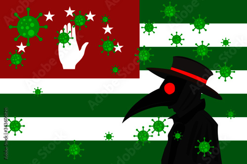 Black plague doctor surrounded by viruses with copy space with ABKHAZIA flag Wallpaper Mural