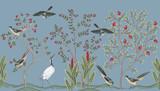 Vintage garden tree, birds, crane floral seamless border blue background. Exotic chinoiserie wallpaper. - 343607867