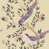 Vintage garden tree, bird floral seamless pattern light background. Exotic chinoiserie wallpaper. - 343607891