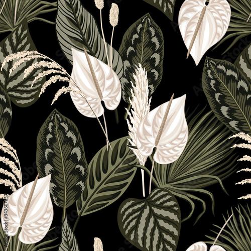 Tapety kolonialne  liscie-tropikalnych-palm-kwiatowy-anturium-kwiat-wzor-czarne-tlo-tapeta-egzotyczna-dzungla