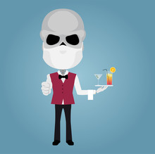 Skeleton Waiter With Mask White Gloves Thumbs Up Cocktails Towel Bow Tie Red Vest And Black Pants