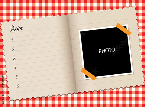 Fototapeta Recipe book and photo area on red white table cloth, vector illustration obraz