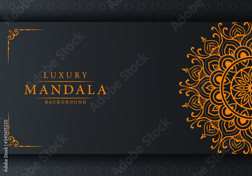 Luxury mandala background with arabesque pattern arabic islamic east style for Wedding card, book cover Canvas Print