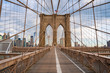 Empty Brooklyn Bridge during lockdown in New York, because of the pandemic.
