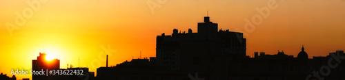 cityscape of Porto Alegre on the sunset with Gasômetro and Catedral Metropolitan Canvas Print
