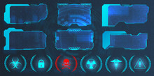 GUI, HUD, UI Hi-tech Frame Screens And Small Callouts For Icons. Good For Video Games Sky-fi Concept. Info Frame Box In Futuristic Style. Virtual Elements Design. Callouts Titles. Vector Illustration