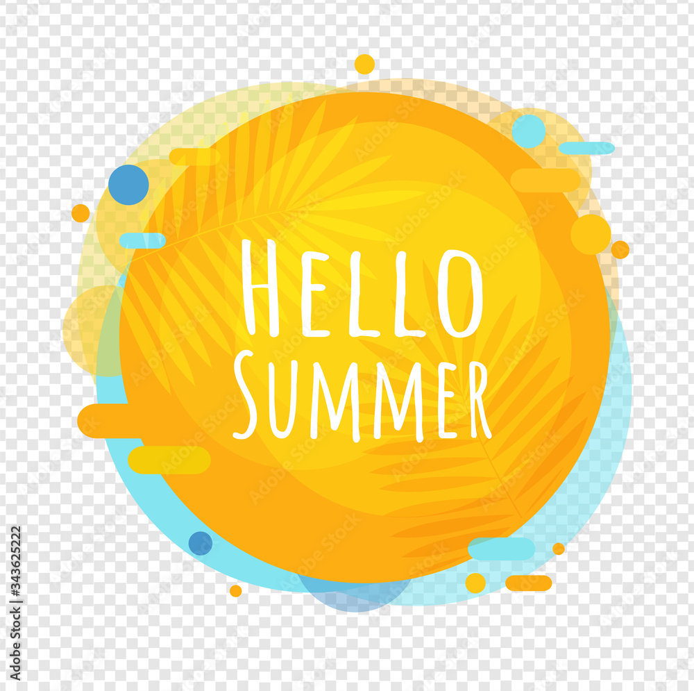 Fototapeta Hello Summer Poster Speech Bubble Isolated Transparent Background