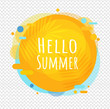 Hello Summer Poster Speech Bubble Isolated Transparent Background