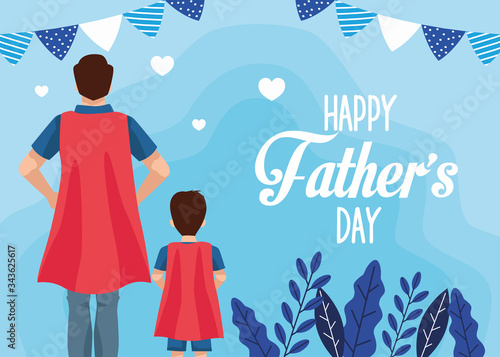Fotografiet fathers day card with super dad and son characters
