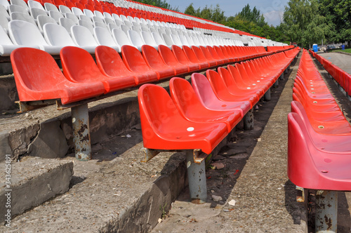 Empty seats in the stands of the arena Canvas Print