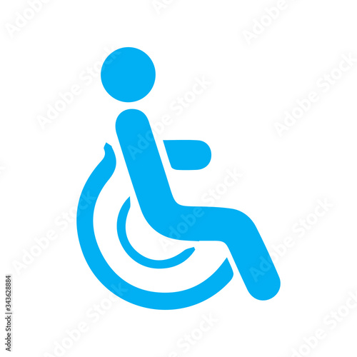 Photo Disabled person and wheelchair / handicapped access sign