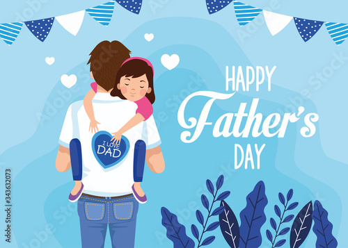 fathers day card with dad carrying daughter characters Tableau sur Toile