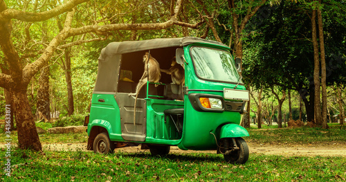 Fényképezés Monkeys climbed inside an empty parked tuk-tuk, and play the role of tourists who are now sitting at home because of coronavirus quarantine, like auto rickshaw mototaxi drivers