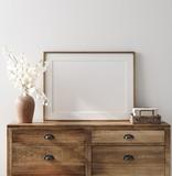 Mockup frame in farmhouse living room interior, 3d render - 343634281