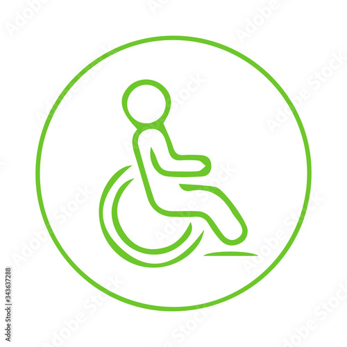 Photo Ecology Disabled person and wheelchair / handicapped access sign