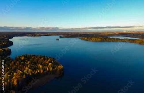 Photo Aerial photo above the lake. 10/2019 Bodominjärvi, Finland.