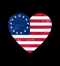Distressed Betsy Ross Flag Heart    , Victory 1776