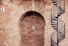 Spiral Staircase Outside Historic Building
