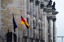 European Union Flag Against Reichstag Building In City