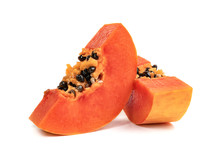 Ripe Papaya Slice Isolated On ...