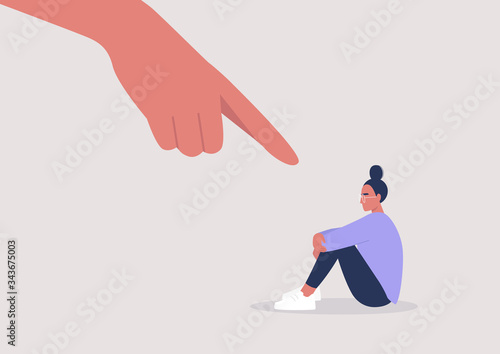 Fotografía Bullying, Pointing finger, Hate, Sexism, Sad female character hugging their knee