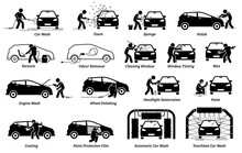 Professional Auto Car Detailer Icons Set. Vector Illustrations Of Auto Car Detailing Services Of Car Wash, Polishing, Cleaning, Waxing, Repainting, Ceramic Coating, And Paint Protection Film.