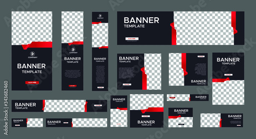 Fototapeta set of modern black banners of standard size with a place for photos. Business ad banner. Vertical, horizontal and square template with gradient red color. obraz