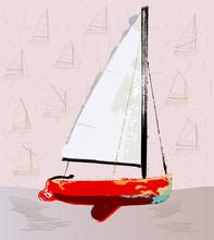 Red Cat Boat Illustration, Pai...