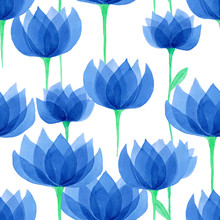 Blue Watercolor Floral Seamles...