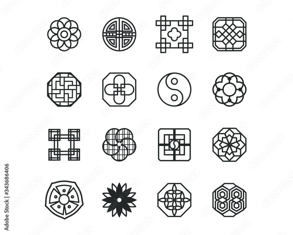 Fototapeta Korea traditional pattern outline icon collection. Thin line icon vector illustrator