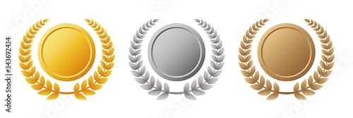 メダルセット 金銀銅 月桂冠 Canvas Print