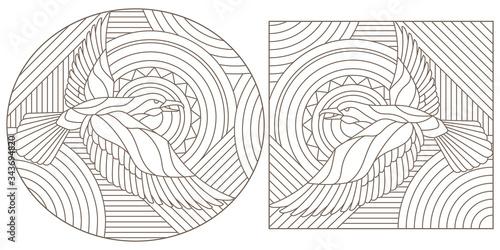 Fotografie, Tablou Set of contour illustrations stained glass birds, dark contours on a white backg