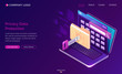Privacy data protection banner. GDPR concept. Vector landing page of digital security of personal data, safety confidential information with isometric laptop with lock on folder, shield and key