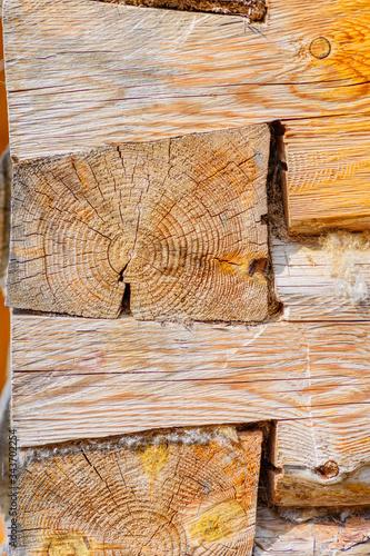 Angular articulation of logs of an old wooden frame Wallpaper Mural