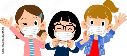 マスクをつけた元気な女子の上半身 Fototapet