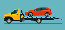 Tow Truck With A Driver Carries A Hatchback Car. Vector Flat Style Illustration.